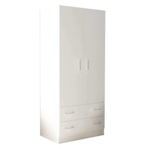 milani home Armadio Due Ante di Design spazioso in Legno Moderno 180 x 52 x 80 h