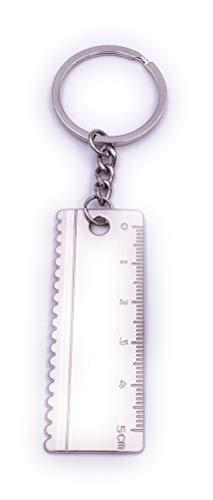 Onwomania Regla Material de Escritura Llavero Llavero Metal Plateado