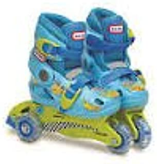 Little Tikes 2-in-1 Training Skates Converts to Inline Skates/ Blue & Green
