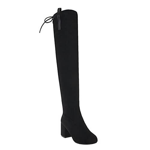 Piel De Ante Tacón Grueso Botas De Tubo Largo Dedo del Pie Redondeado Ponerse Botas Altas para Mujeres Moda Mantenido Caliente Invierno Botas Casuales,Negro,34 EU