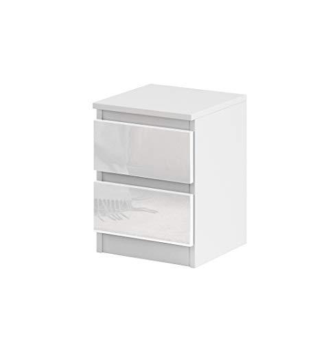 Nachttisch Sideboard, Kommode mit 2 Schubladen Hochglanz