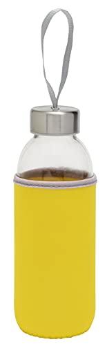 TOPICO Take Well Botellas térmicas, Cristal, SBR, Acero Inoxidable, Amarillo Transparente
