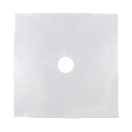 Protectores de Rango de Gas 6 piezas, Estufa Protector de Quemador Superior protector de cubiertas superior de estufa de gas reutilizable para cocina, 27 x 27 CM(Plata)