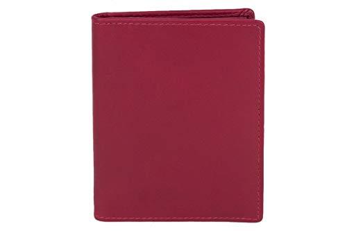 Caja de Piel para DNI Tarjetero para DNI Tarjetero para Tarjetas de crédito LEAS, Piel auténtica, Cereza/Rojo - Card-Collection