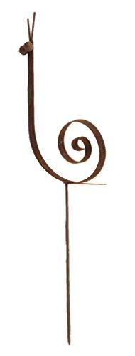 Crispe home & garden Metall Schnecke klein - Massive Dekoration für den Garten - wetterfest und standfest - aus Vollmetall mit Edelrost-Patina – Höhe 48 cm