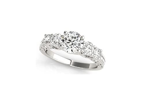 Anillo de compromiso de plata de ley 925 con cinco piedras de imitación de diamante de 1,2 quilates, anillo de boda, anillo de aniversario.