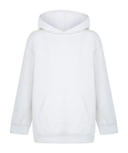 Kratos Attire Neue Kinder Mädchen Jungen Hoodie Sweatshirt Tops Casual Einfarbig Pullover Fleece Kapuzenpullover Unisex für Jungen und Mädchen Sport und Schule Kleidung Gr. 9 - 11 Jahre, weiß