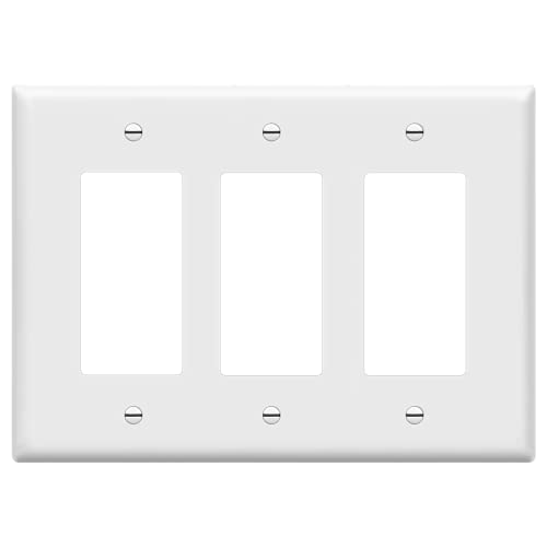 ENERLITES Decorator Light Switch or Receptacle Outlet Wall Plate, Mid-Size 3-Gang 4.88