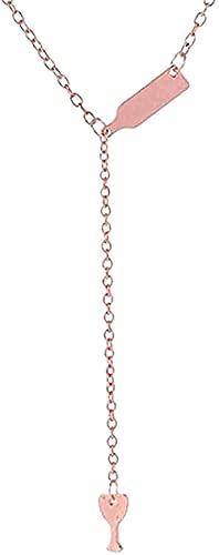 WYDSFWL Collar Botella de Vino Copa Colgante Largo Collar declaración Gargantilla Cadena joyería para Mujeres Hombres Regalos Regalo