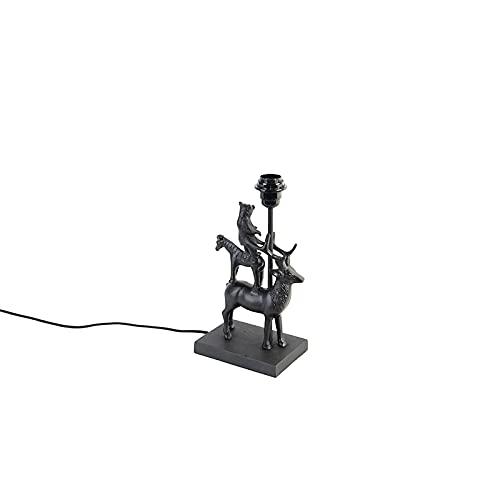 QAZQA rústico Lámpara de mesa vintage negra - HJORT TRE Aluminio/Plástico Otros Adecuado para LED Max. 1 x 25 Watt