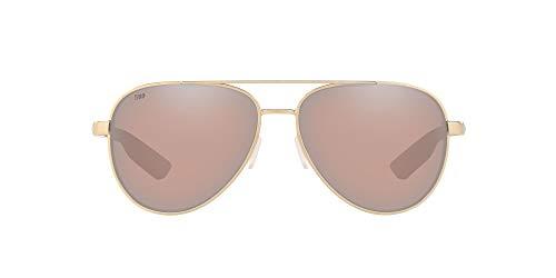 Costa Del Mar Peli Polarized Aviator Sunglasses, Brushed Gold/Copper Silver Mirrored Polarized-580G, 57 mm