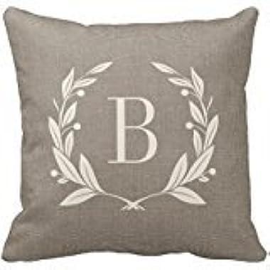 Rustic Laurel Wreath Monogram Throw R01f5caa106074bf98d5a646670bd47b0 I5fqz 8byvr Pillow Case