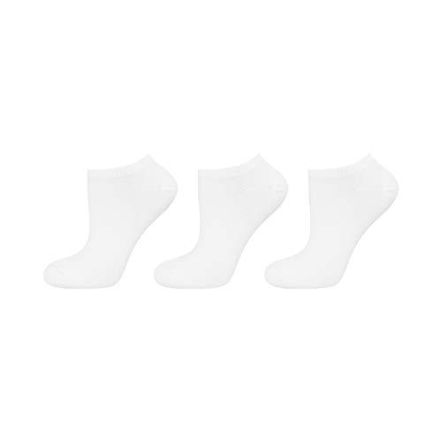 soxo Damen Sneaker Socken | 3 Paar einfarbigen modischen Socken | Größen 35-40 (weiß)