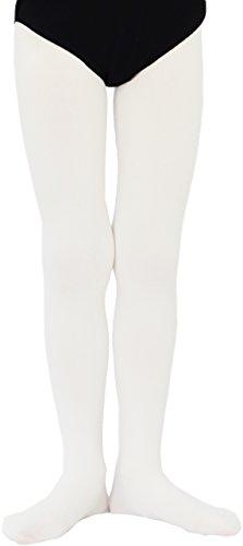 M&P Fashion Weiche Kinder Mädchen Ballett Strumpfhose 3D Microfaser 50DEN 001 (164-176, Weiß)