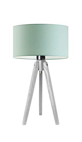 SABA - Lámpara de escritorio con pantalla de lámpara, marco de madera blanca