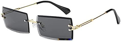 LUOWAN Gafas de sol rectangulares con borde sin borde para hombre y mujer, con protección UV y marco pequeño, paquete de regalo exquisito.
