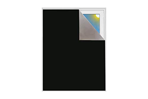 Verdunklungsstoff Meterware | Sonnenschutz zu 100% verdunkelnd | Folie mit Thermobeschichtung | lichtundurchlässige Meterware für Fenster, Velux und Dachfenster | Blackout (Schwarz)