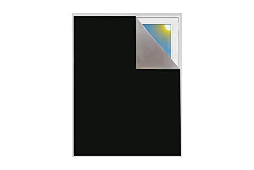 Verdunklungsstoff Sonnenschutz zu Blackout Verdunkelungsstoff Thermobeschichtet Meterware für Fenster und Türen verdunkelnd lichtundurchlässig Schrägdachfenster (Schwarz)