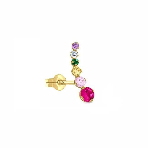 Piercing (1) Oro de Ley Certificado, trepador circón colores arco iris, Medida 4 x 12.5 mm, con cierre de presión 1-5205 mix