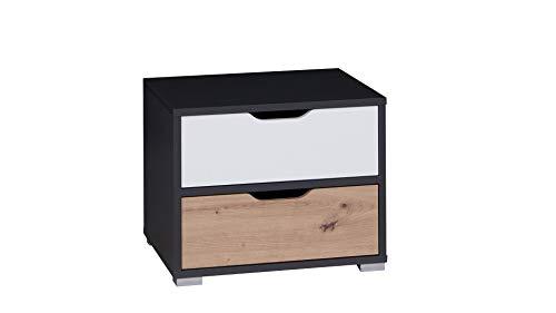 Nachtkastje voor uw slaapkamer, nachtkastje commode antraciet wit eiken, bijzettafel hout, kleine tafel kast met schuifladen, slaapkamer plank comodes voor lampen, dressoir wit zwart