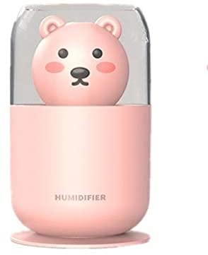 lndytq Cute Bear Humidificador de Aire USB 300ml Lovely Pet Difusor ultrasónico de Agua fría Lámpara de Noche romántica Mist Maker Humidificador de Niebla (Color: Pink)