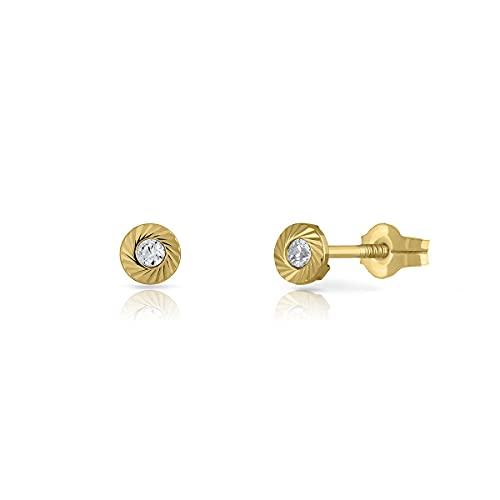 Pendientes Oro de Ley Certificado. redondo tallado. Niña/Mujer. circón 2 mm cierre de presión (1-4524-2)