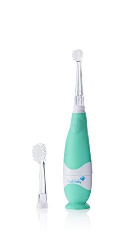 Cepillo de dientes eléctrico BabySonic de Brush-Baby para bebés y niños | Primeros dientes | 0-36 meses | Luz LED, vibración, temporizador de 2 min y base de succión | Con 2 cabezales y 1 pila AAA