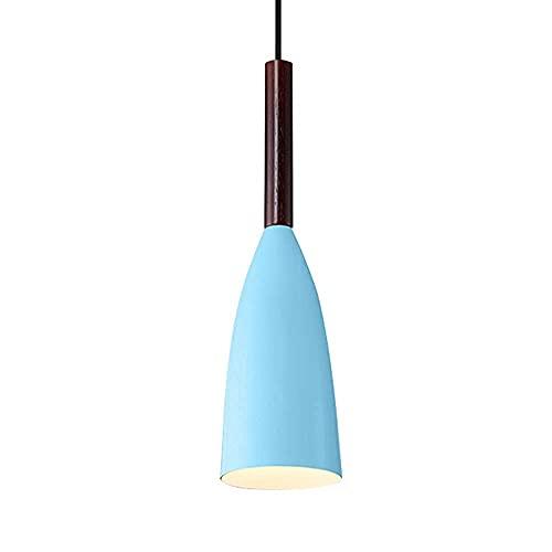 SHUHD American Color Colgante Luz Color Macron Metal Bar Pequeña araña Moderna Minimalista Iluminación Decorativa Lámpara Colgante for Comedor Luces de Escalera de Noche (Color: Gris) (Color : Azul)