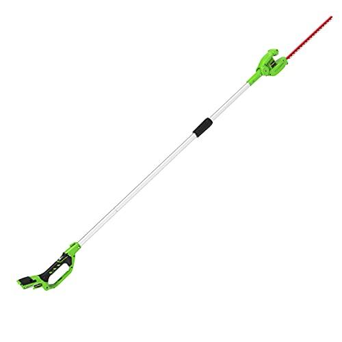Greenworks cortasetos accu de largo alcance con batería G24PH51, Li-Ion 24V 51cm de longitud de la espada 18 mm de grosor de corte 200 cm eje dividido sin batería ni cargador