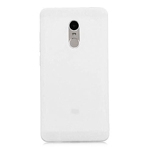cuzz Funda para Xiaomi Redmi Note 4+{Protector de Pantalla de Vidrio Templado} Carcasa Silicona Suave Gel Rasguño y Resistente Teléfono Móvil Cover-Blanco
