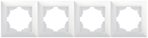 Visage 4-fach Rahmen 01281100000145 gunsan weiß, für 4 Steckdosen Schalter Dimmer Taster aus Visage Schalterserie geeignet, Prüfzeichen: VDE