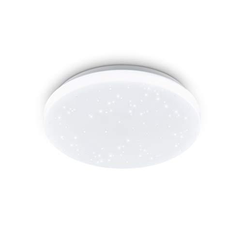 EGLO LED Deckenleuchte Pogliola-S, Ø 26 cm, 1 flammige Wandlampe, Kristalleffekt Deckenlampe aus Stahl und Kunststoff in Weiß, Wohnzimmerlampe, Küchenlampe, Bürolampe, Flurlampe Decke