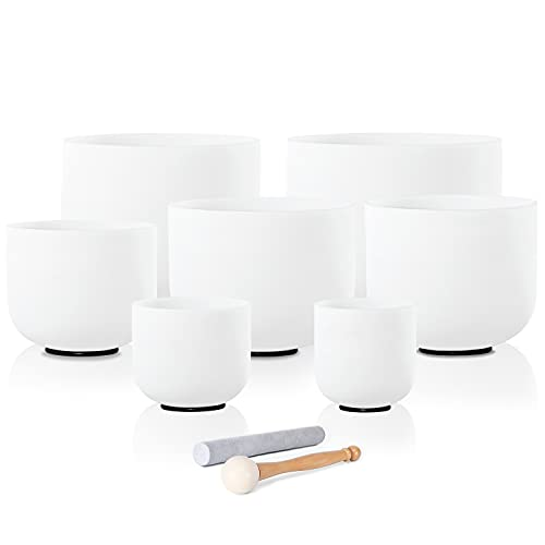 CVNC 440HZ 6-12 Inch Set of 7 PCS Frosted Quartz Crystal Singing Bowls For Sound Therapy Meditation