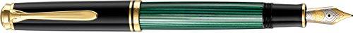 Pelikan 986414 Kolbenfüllhalter Souverän M 800 mit Bicolor-goldfeder 18-K/750, Federbreite EF, 1 Stück, schwarz