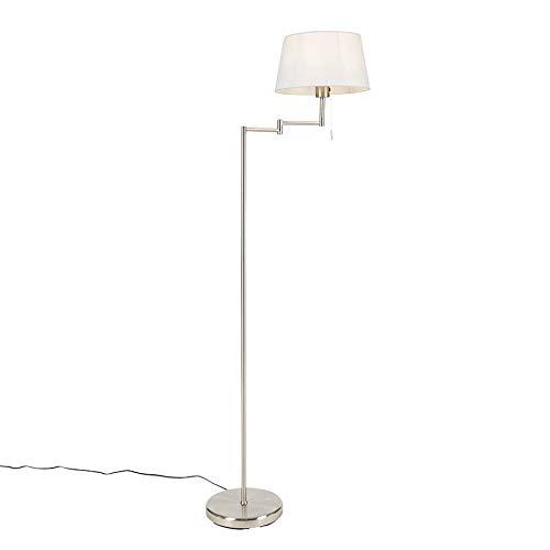 QAZQA Clásico/Antiguo Klassieke verstelbare vloerlamp staal met witte kap - Ladas Acero/Textil Alargada Adecuado para LED Max. 1 x 60 Watt