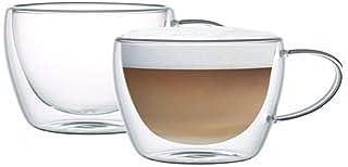 Neoflam Borosilicate Double Wall Glass Mug Set Of 2, Coffee Mugs, Latte Mug, Clear Mugs 300 Ml