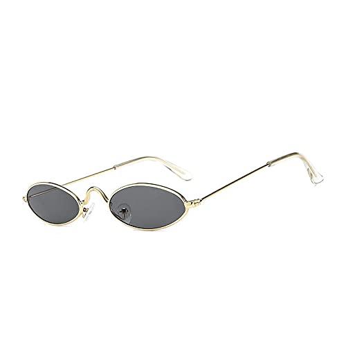 Gafas De Sol Gafas De Sol Ovaladas Pequeñas Vintage para Mujer, Gafas De Sol Negras Retro Street Beat, Gafas De Sol para Hombre, Gafas De Sol De Hip Hop, Dorado-Gris