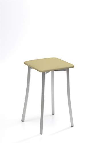 ASTIMESA Dos Taburetes de Cocina Patas diseño Polipiel beig, Altura de Asiento 45 cms. (TABPIBE)