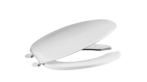 Centoco 620-001 Elongated Plastic Toilet Seat, Open Front with Cover, Heavy Duty Hinge, Regular Duty Residential or Light Weight Commercial Use, White