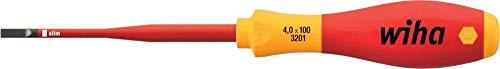 Wiha Schraubendreher SoftFinish® electric slimFix Schlitz (35446) 3,5 mm x 100 mm für tiefliegende Schrauben, ergonomischer Griff für kraftvolles Drehen, Allrounder für Elektriker, VDE-geprüft, stückgeprüft