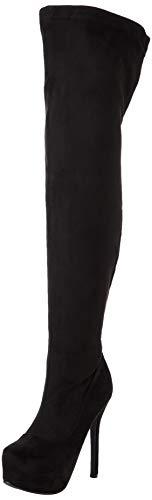 Womens Evening Thigh High Block Heel Winter Long Wide Fit Stretch Boots - Black - US8/EU39 - KL0071
