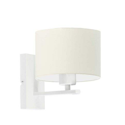 ELVORA - Lámpara de pared con pantalla de lámpara, color crudo, marco blanco
