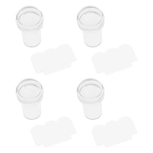 FRCOLOR 4 Piezas de Estampadores de Uñas Transparentes con 4 Piezas de Raspadores de Uñas de Silicona Cabezales de Estampadores de Uñas Kits de Estampación de Uñas Herramientas de