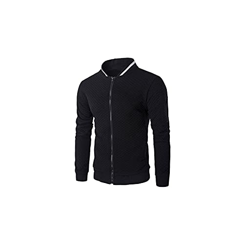 Wzdszuiljk Chaqueta, Chaquetas, Primavera y otoño Moda Chaqueta Casual Chaqueta de Hombre Collar de Hombre con Cremallera de Color sólido de Bolsillo Streetwear Chaqueta Simple