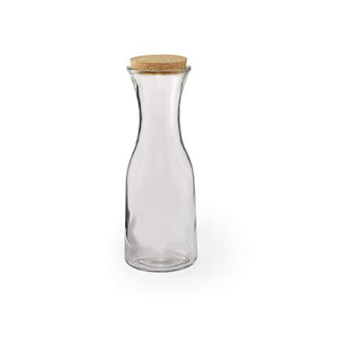 1 jarra / botella de cristal con tapón de corcho ecológico, 1 litro, original y elegante, ideal para agua y vino.