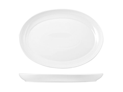 H&H Table Hotelware Plat Ovale, Porcelaine, Blanc, 37 x 28 x 7 cm
