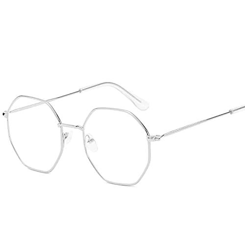 YTYASO Montura de Gafas hexagonales Anti luz Azul para Hombre, Montura de Gafas Transparente de Metal Simple para Mujer, Espejo óptico