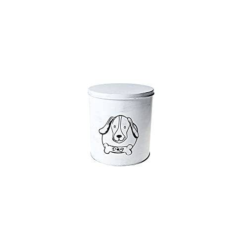 AC-Déco Boite De Nourriture - Chien - 19 X 21 Cm - Fer - Blanc