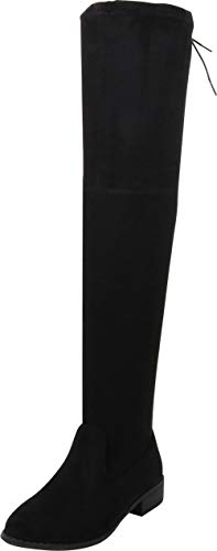 Nature Breeze FF72 Women Faux Suede Thigh High Drawstring Riding Boot - Black (Size: 8.5)