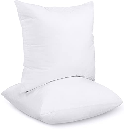 Utopia Bedding Relleno de Cojín 30 x 30 cm (2 Unidades) - Funda de Mezcla de Algodón - Fibra Virgen Siliconada - Almohadas de Sofá (Blanco)